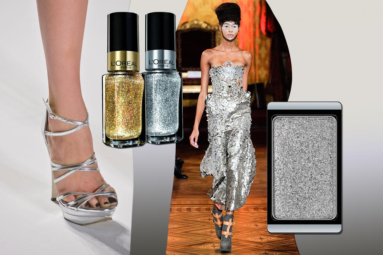 BAGLIORI ORO&ARGENTO: mix oro e argento sulle mani (L'Orèal Paris) e occhi scintillanti (Artdeco). Vestito Vivienne Westwood e tacco Nicole Miller
