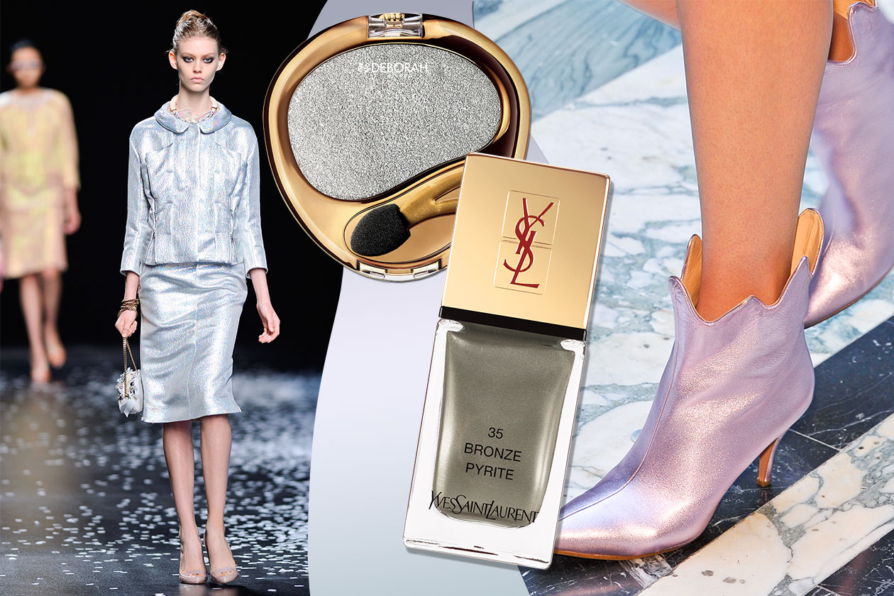 BON TON: il tailleur Nina Ricci (scarpe Vivienne Westwood) sposa il finish grintoso dell'ombretto Deborah Milano e del Bronze Pyrite (Yves Saint Laurent)