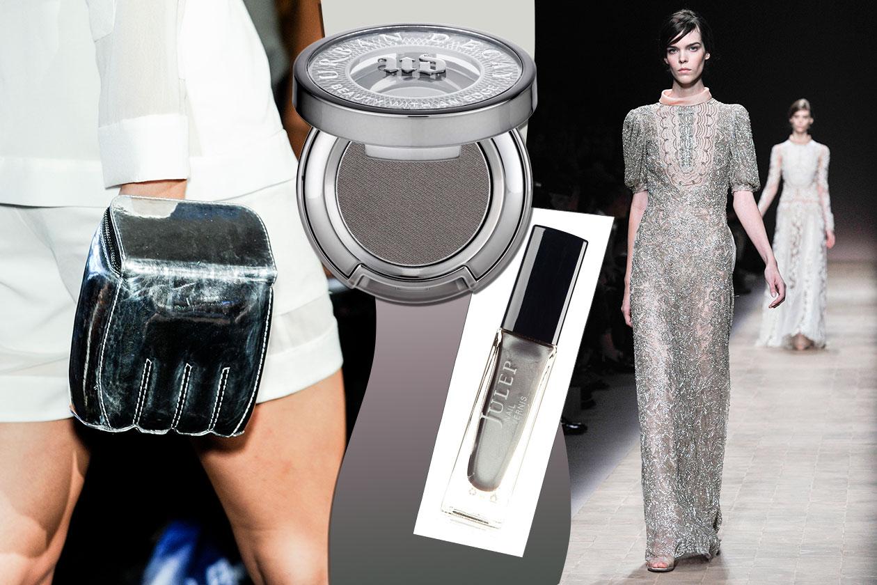 GIOCO DI CONTRASTI: trame d'argento (Valentino) creano contrasto con gli accessori (Ground Zero). Unghie luminose (Julep) e polveri opache (Urban Decay)
