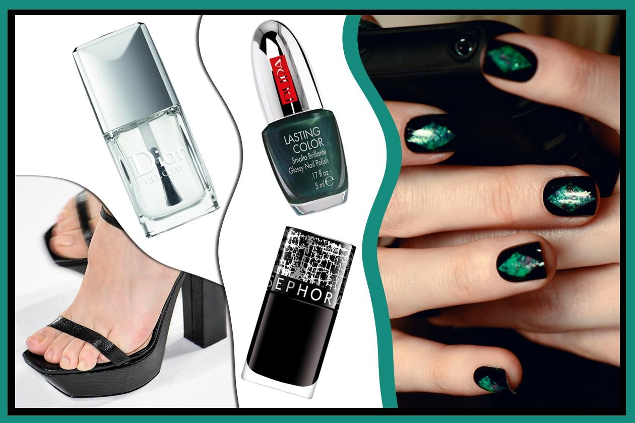 GLI OPPOSTI SI ATTRAGGONO: pensato per le ladies dall'animo dark il verde brillante abbinato al nero. Nude per i piedi (Sephora – Nicole Miller – Calvin Klein – Dior)
