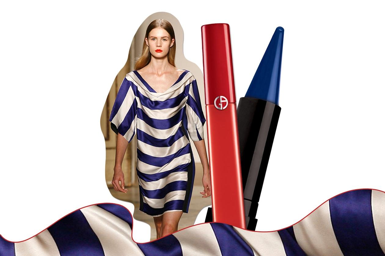 MARINIÈRE: la moda a righe è un trend intramontabile nel periodo estivo. Osiamo colori forti sul viso (Massimo Rebecchi – Deborah Milano – Giorgio Armani)