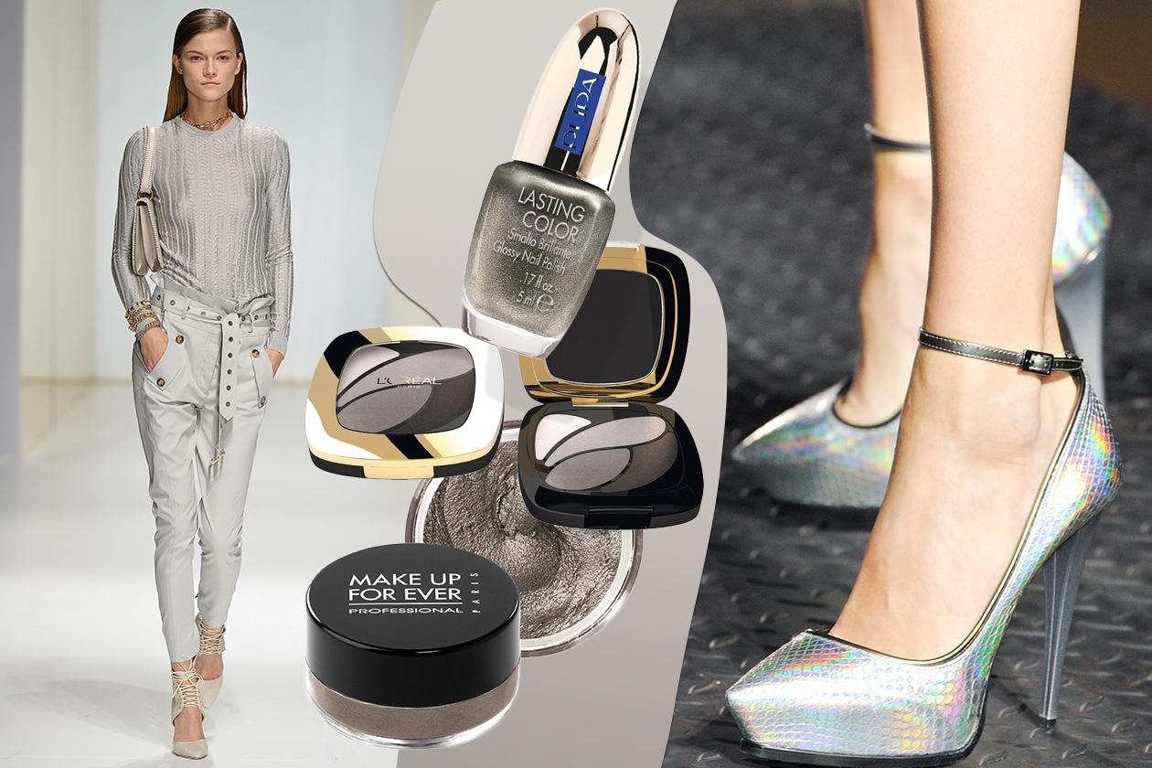 NERO&ARGENTO: Look fashion monocolore (Salvatore Ferragamo – Lanvin). Make up silver e black (Make Up For Ever -L'Oréal Paris). Smalto glitter di Pupa