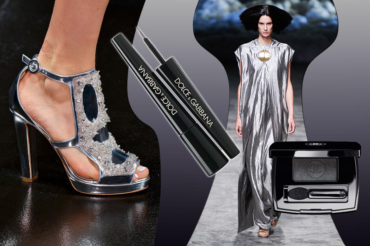 RITORNO AL FUTURO: il vestito di Rick Owens cade morbido sulla scarpa Moschino. Eyeliner Dolce &Gabbana abbinato all'ombretto Chanel