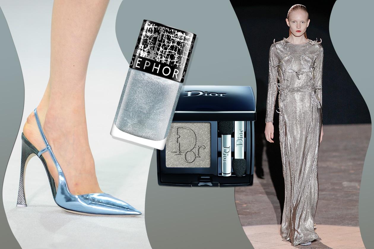 TOTAL LOOK: a tutto silver (Francesco Scognamiglio – Dior). Ombretto Dior sugli occhi; sulle unghie va il Top coat Crackle Argent di Sephora