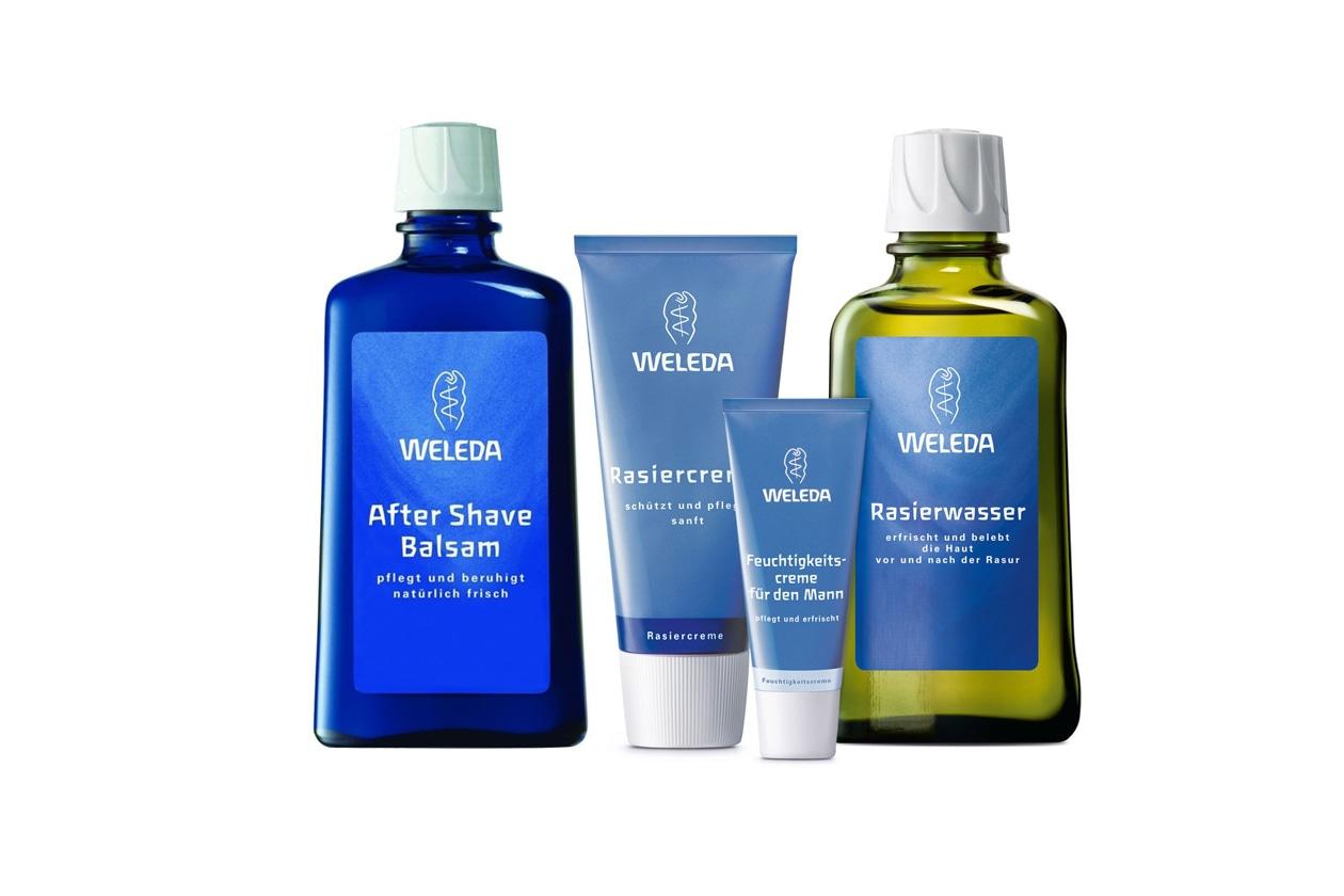 Un quartetto di prodotti by Weleda che protegge idrata e previene l'irritazione