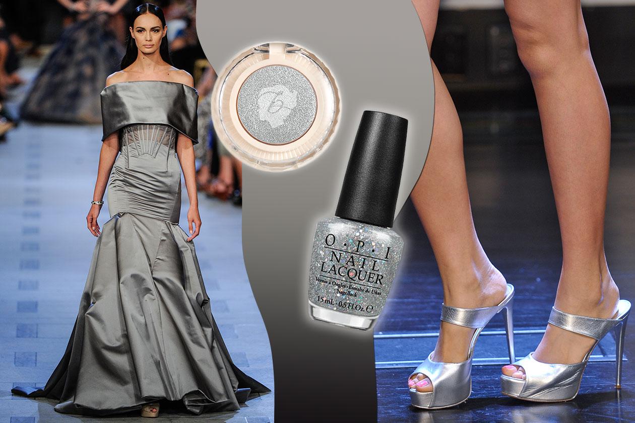 VERY CHIC: per le grandi occasioni il vestito di Zac Posen  (scarpe Douglas Hannant). A tutto paillettes per il make up (OPI – Benefit)