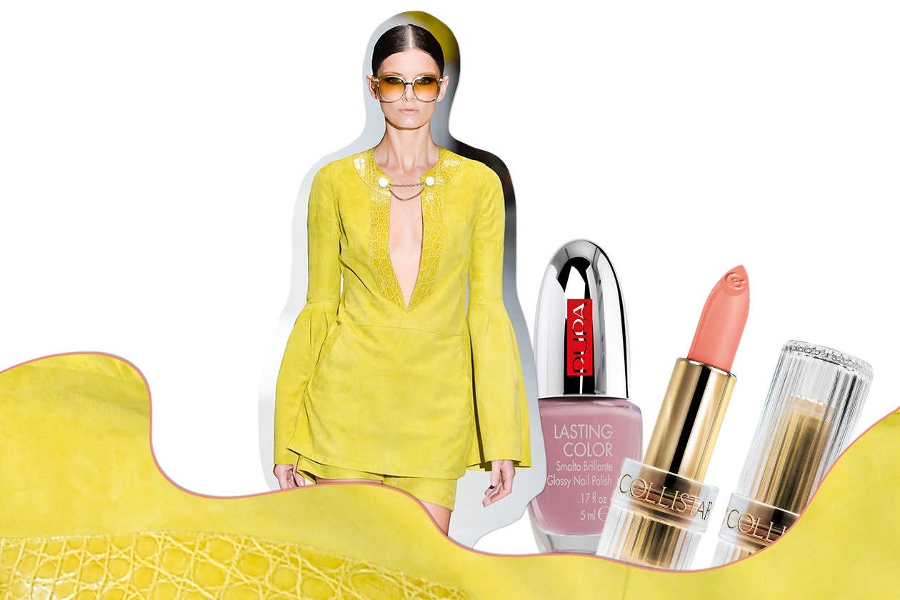"""YELLOW MANIA: se il look è total yellow al make up tocca """"stemperare"""" i toni con nuance delicate e calde (Gucci – Collistar – Pupa)"""