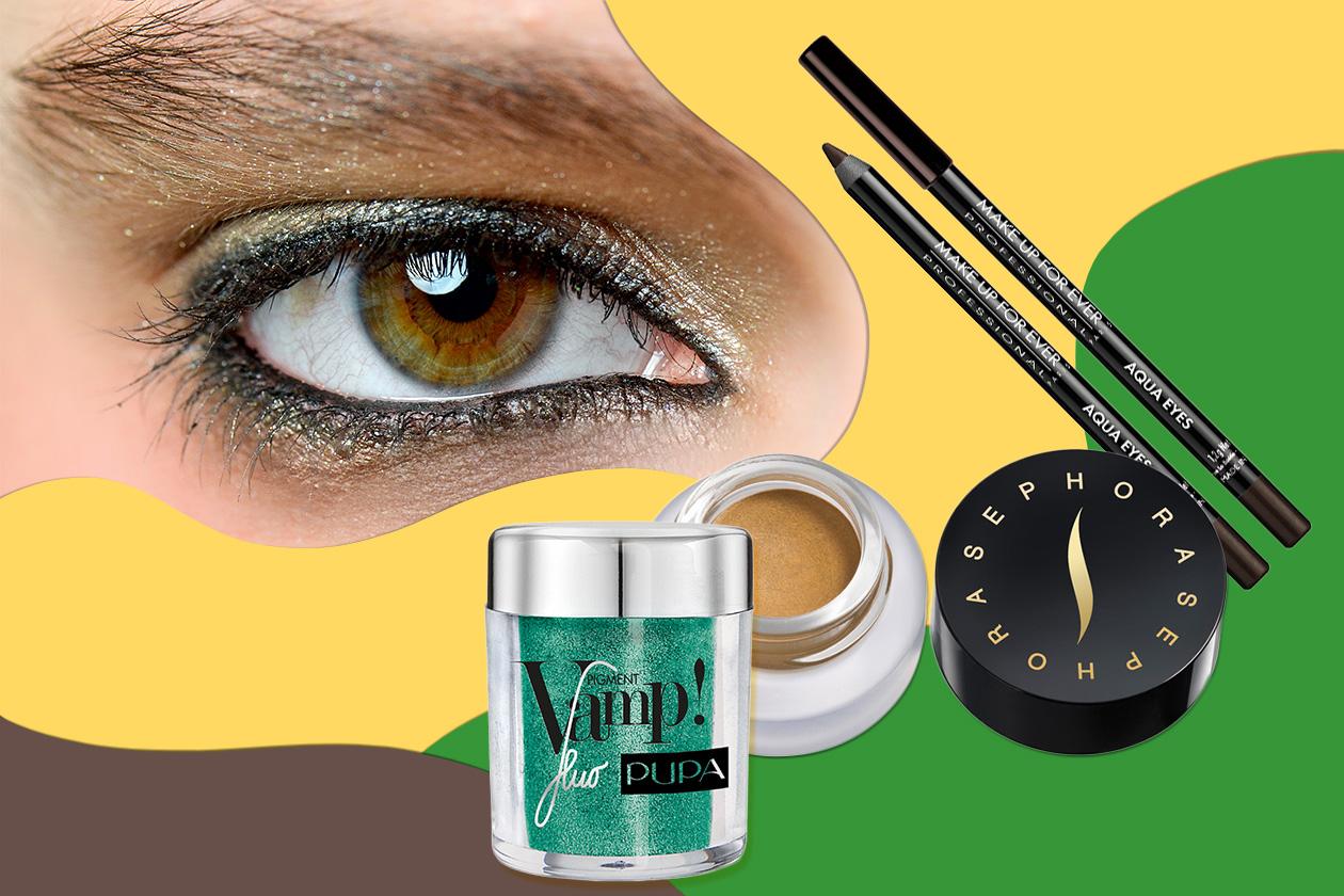 CALDO VERDE: l'oro riscalda un colore evergreen (Pupa – Zero + Maria Cornejo – Sephora. Segnate – Make Up For Ever)