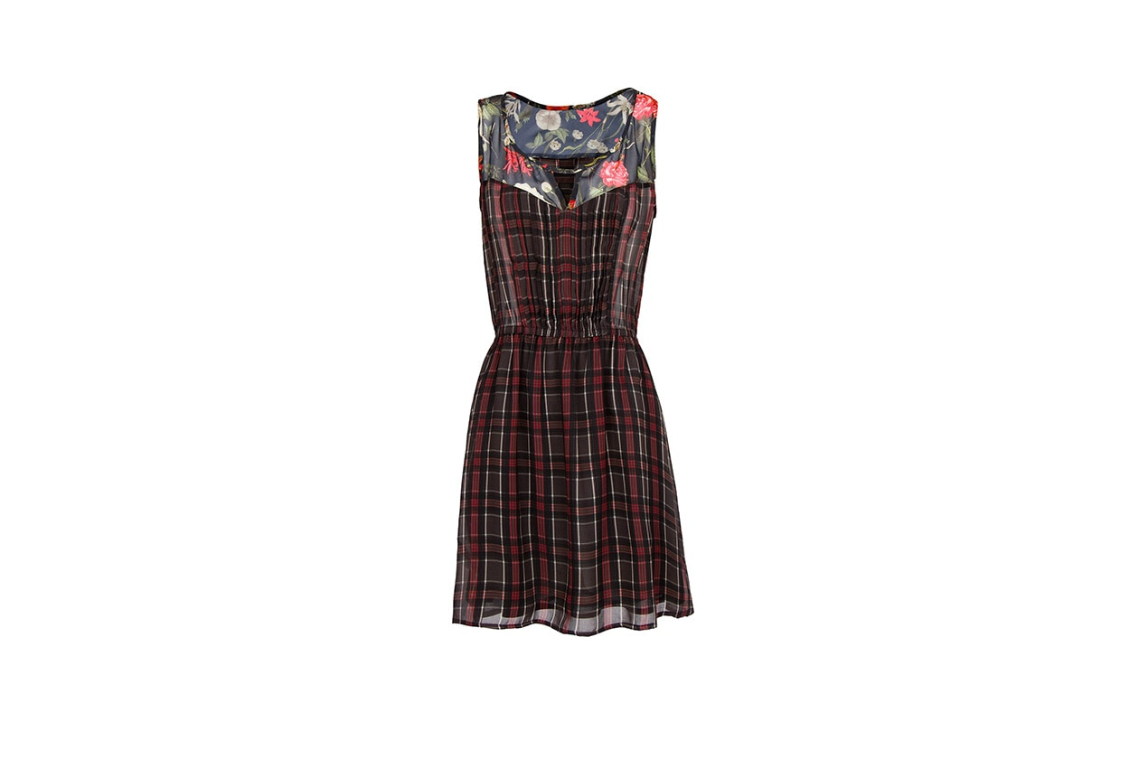 Fashion Toplist London Look FLORAL PANELS PLAID DRESS MANGO