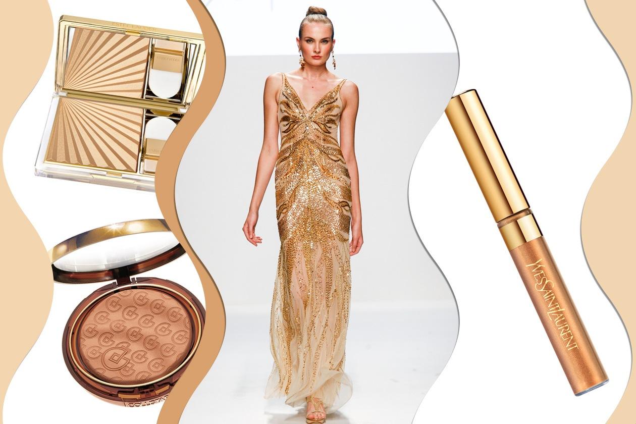 GOLD ALL OVER: impreziosite da paillettes e strass dorate e soluzioni make up luminose (Gabriel Lage – Collistar – Estée Lauder – Yves Saint Laurent)