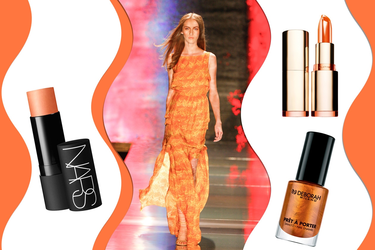 I COLORI DEL TRAMONTO: pennellate di arancio illuminano il corpo colorato dai raggi del sole (African Icons – Nars – Deborah Milano – Clarins)