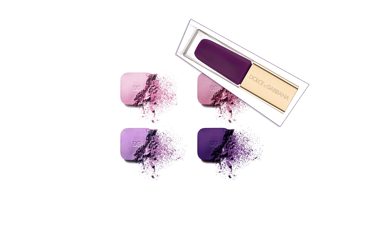 SOLUZIONI MIX&MATCH: smalti viola intenso con un mix di sfumature sugli occhi nel beauty look proposto da Dolce&Gabbana