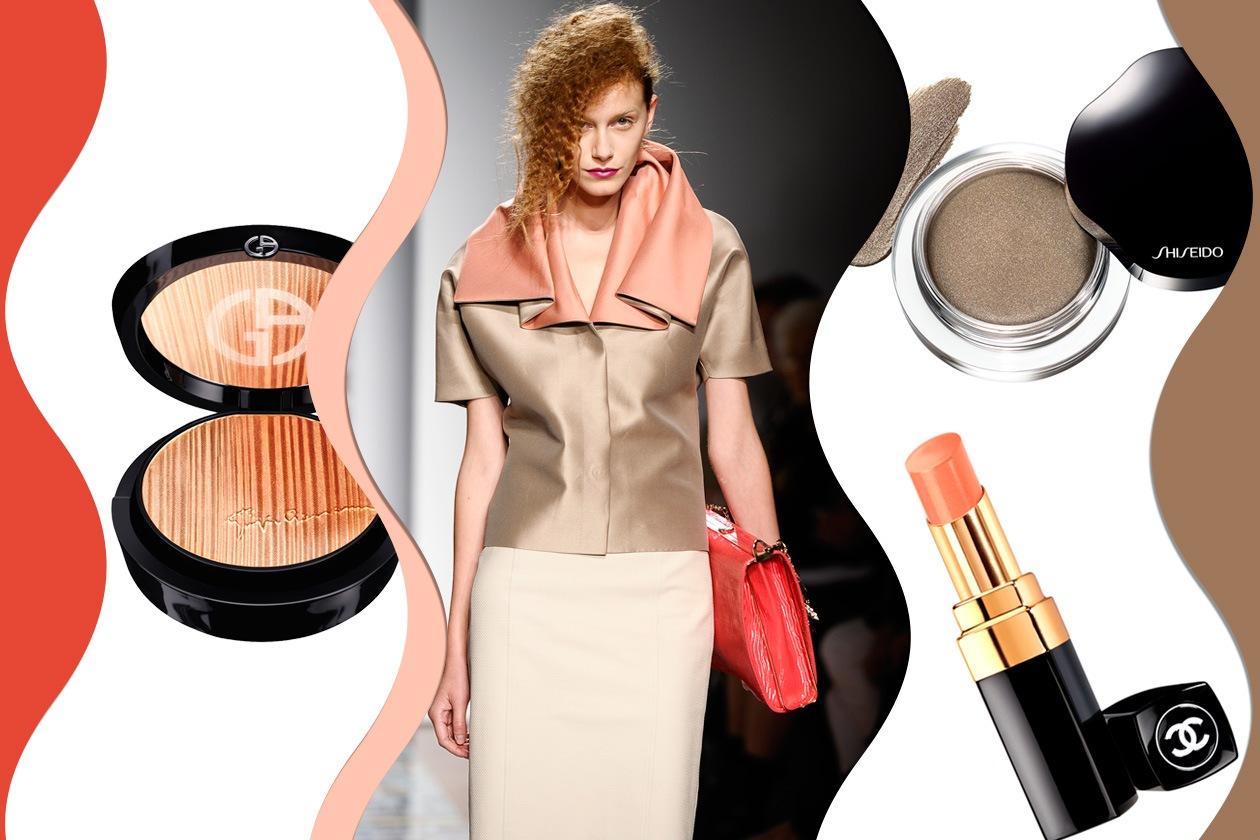 TRA SABBIA E TERRA: nuance discrete si alternano a colori più decisi (Aigner – Giorgio Armani – Chanel – Shiseido)