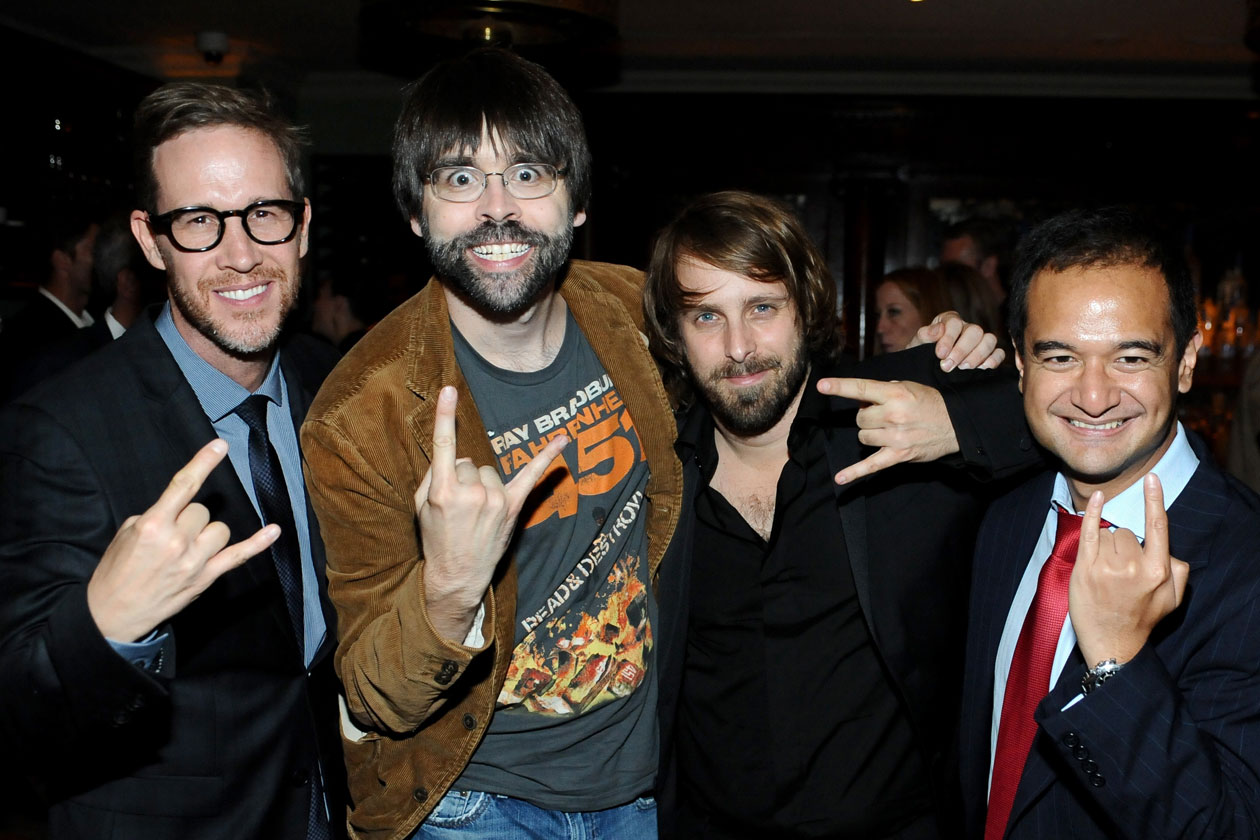 Joey McFarland, writer Joe Hill, director Alexandre Aja and Riza Aziz at the Grey Goose vodka dinner for Horns at Soho House Toronto on September 6, 2013 in Toronto, Canada. (Photo by Stefanie Keenan Getty Images for Grey Goose Vodka)