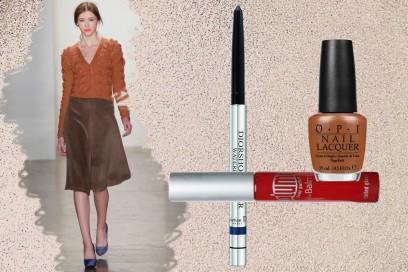 AUTUMN COLORS: indossiamo i colori dell'autunno (Costello Tagliapietra) e rendiamoli più caldi con un trucco ad hoc (Dior – The Balm – OPI)