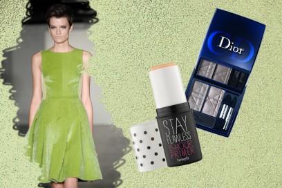 GREEN ATTITUDE: il vestito dalle linee anni 50 di Antipodium per un make dai colori più sobri (Dior – Benefit)