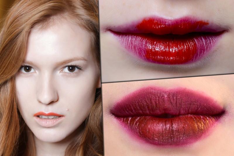 """LABBRA BICOLOR. Pro: miscelate colori di rossetti diversi con effetti anche """"tridimensionali"""". Contro: l'effetto troppo teatrale (Emporio Armani, Marni, Jean-Charles de Castelbajac)"""