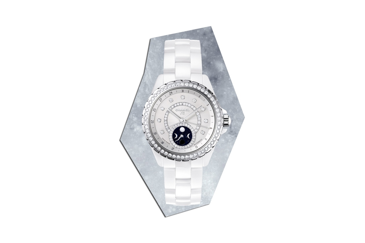 13 J12 Moonphase White with Diamonds sky