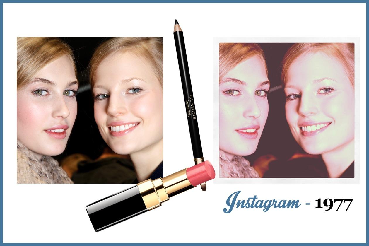 1977 –  Consiglio: labbra pinky ma senza esagerare e occhi delineati per contrasto (Chanel – Clarins)