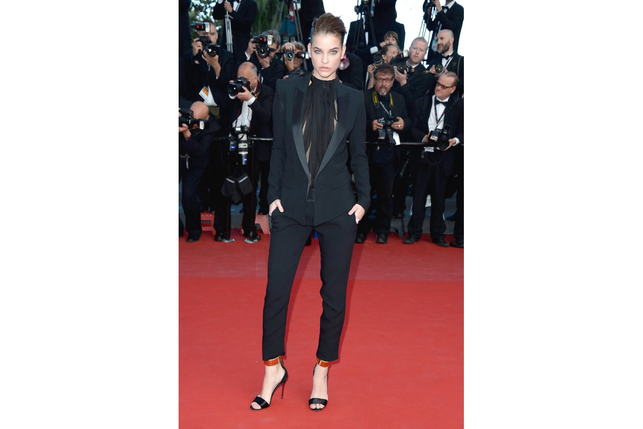 Barbara Palvin Alexandre Vauthier Spring 2013 Couture crepe tuxedo with a black chiffon blouse