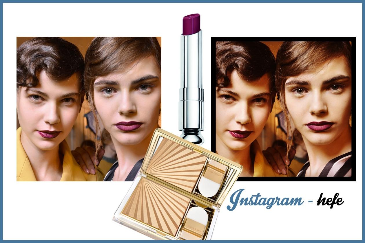 HEFE – Consiglio: fa per voi se amate le polveri dorate abbinate a rossetti scuri (Estée Lauder – Dior)