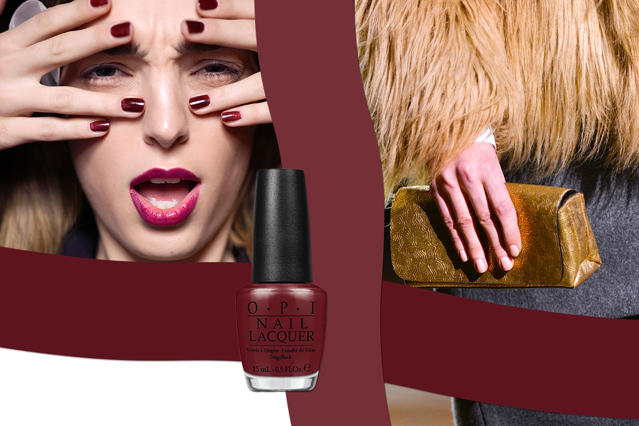 ACCENTI BLOODY: il colore di tendenza si sposa con l'oro metal (OPI – Dries Van Noten – Byblos)
