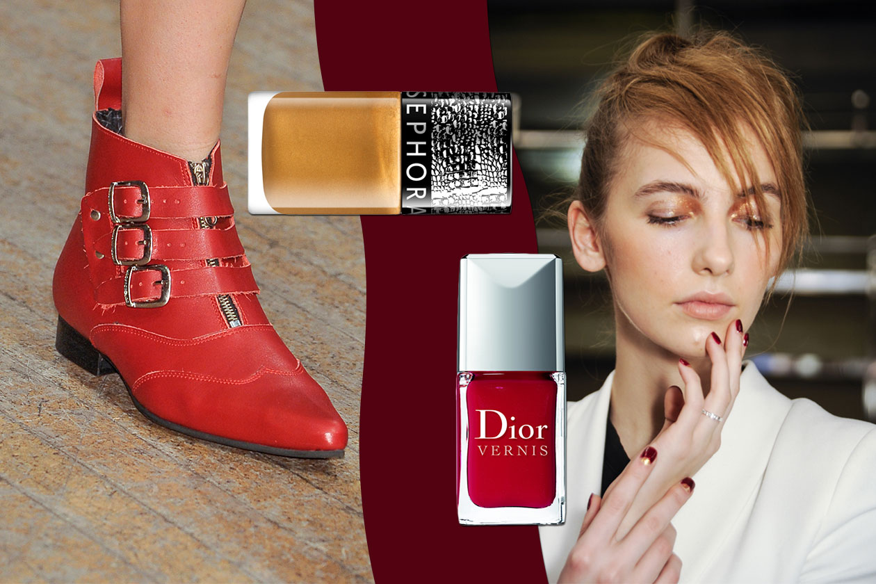 ACCESSORIO IN EVIDENZA: Red shoes. La manicure è bicolor (Clements Ribeiro – Dior – Sephora)