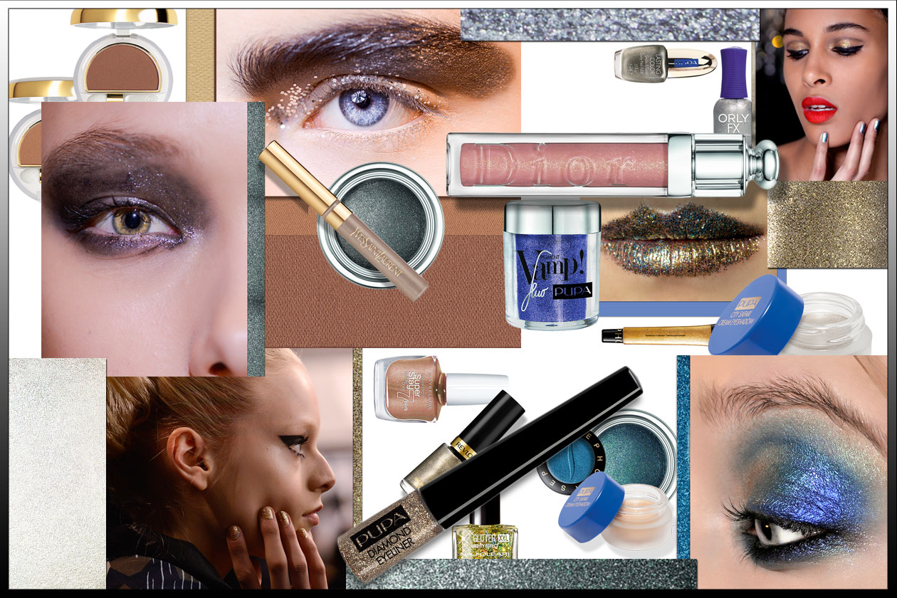 Glitter su occhi, mani e labbra: un make up luminoso per festeggiare senza passare inosservate