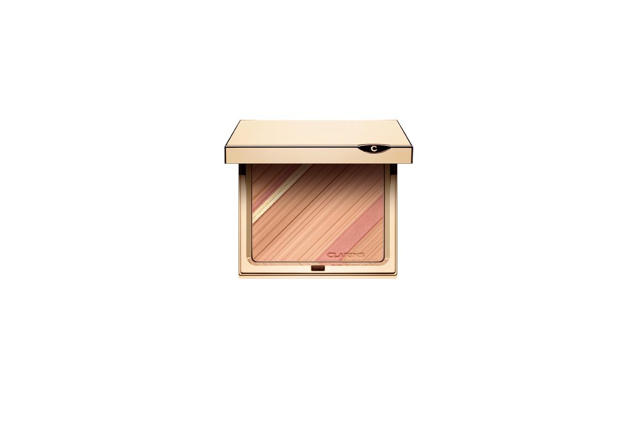Obiettivo volto luminoso con la Graphic Expression Poudre Teint et Blush di Clarins