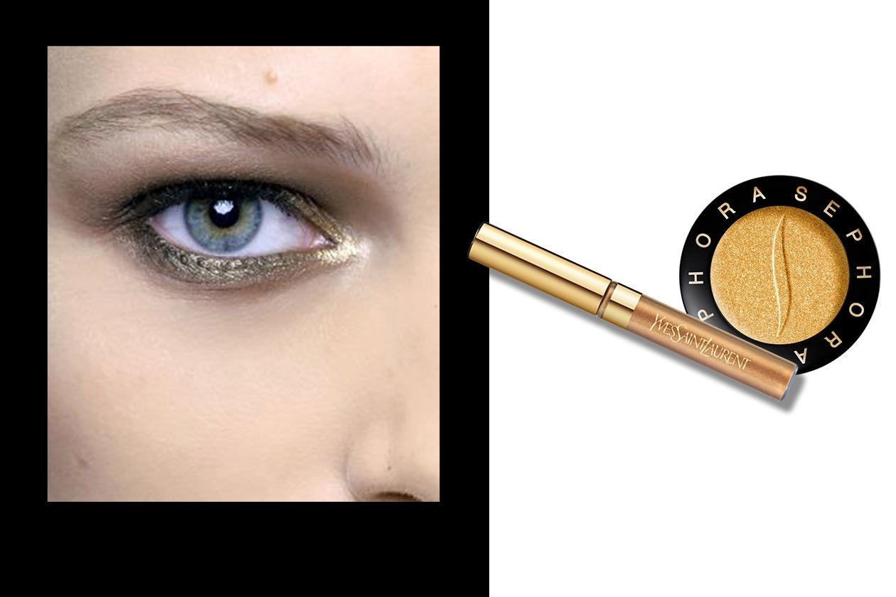 PAROLA D'ORDINE GOLD ALL OVER: focus on eyes. Più discreto il make up della modella di Valentino (Yves Saint Laurent – Sephora)