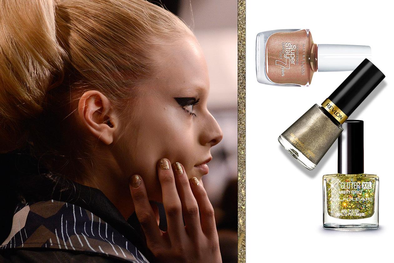 SFUMATURE D'ORO: Protagonista le unghie per un look da serata speciale (Anna Sui – Revlon – Maybelline New York – Naj Oleari)