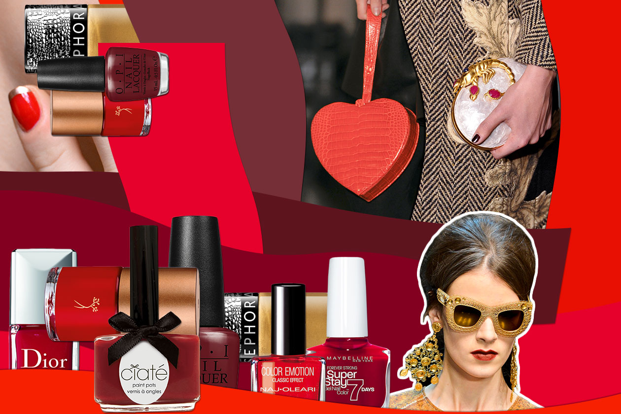 Smalti rosso e oro: per manicure preziose abbinate ad accessori red & gold