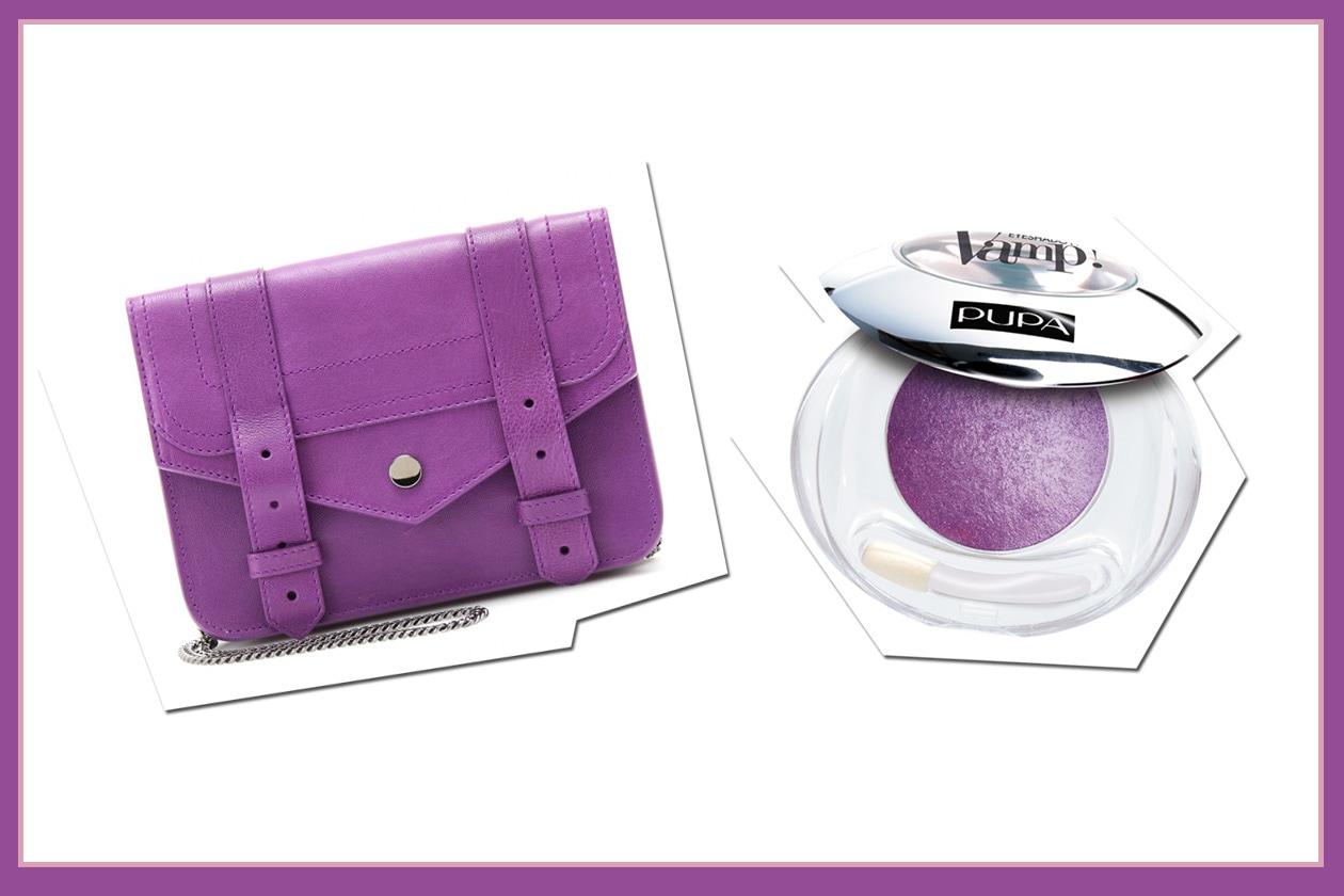 Combinazioni perfette: la borsa di Proenza Schouler con l'ombretto Wet&Dry Eyeshadow 105 Violet di Pupa