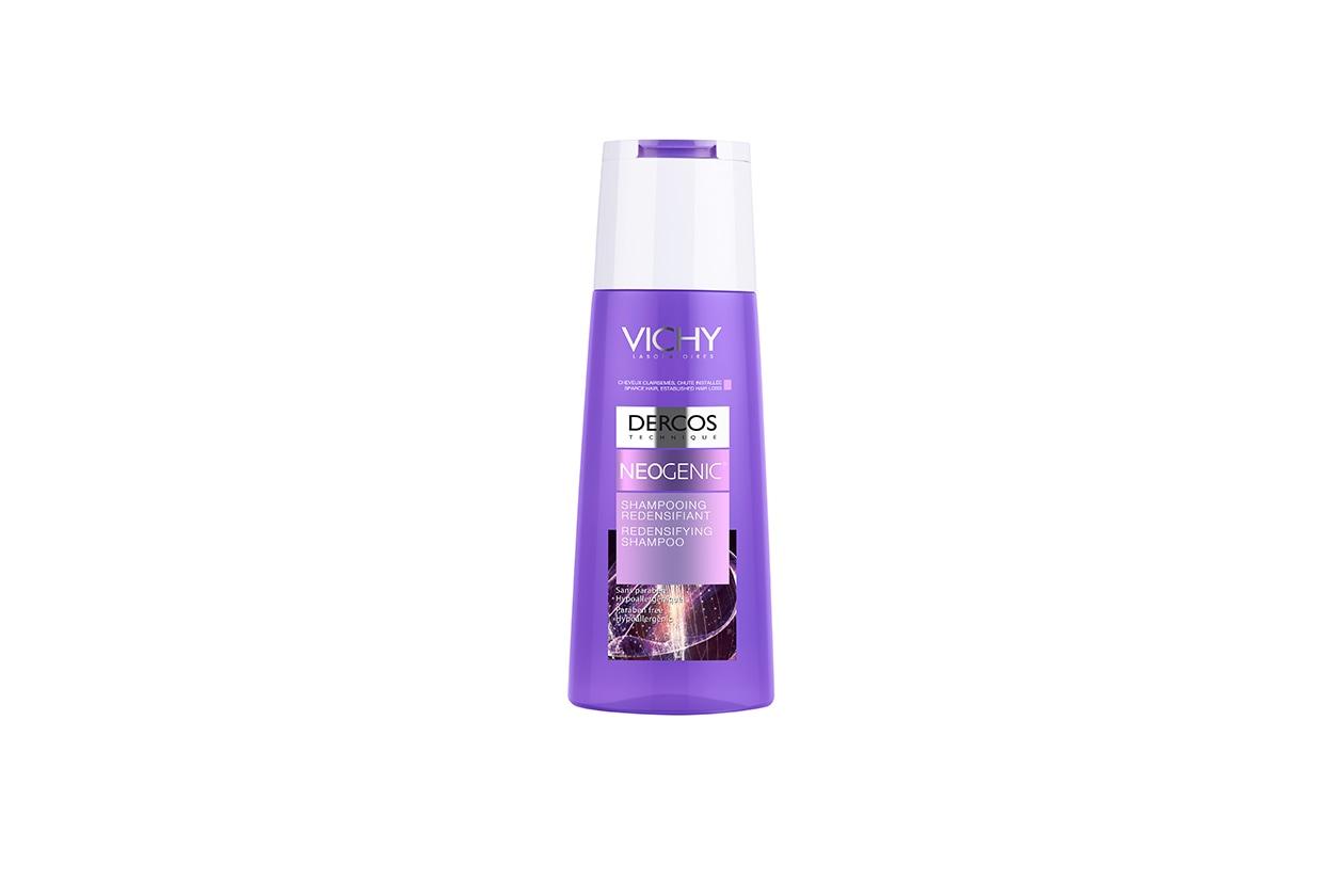 Contiene Stemoxydine e una speciale Tecnologia Pro-Densificante lo Shampoo ridensificante Dercos Neogenic di Vichy