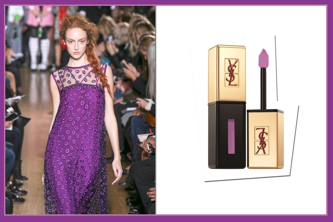 Eleganti accostamenti: vestito by Giles e Rouge Pur Couture Vernis a Lèvres n. 108 Violine Out Of Control di Yves Saint Laurent
