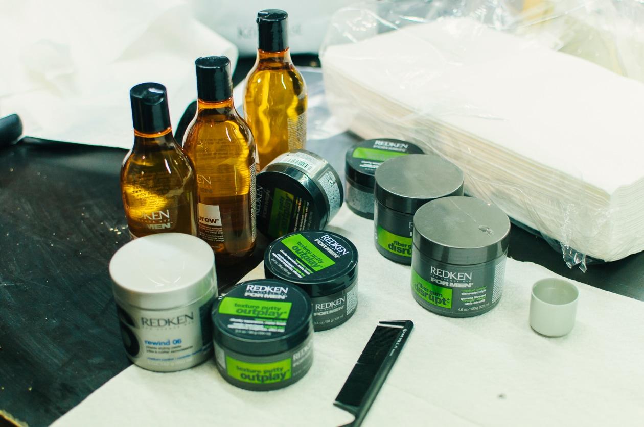 I prodotti Redken For Men usati nel backstage