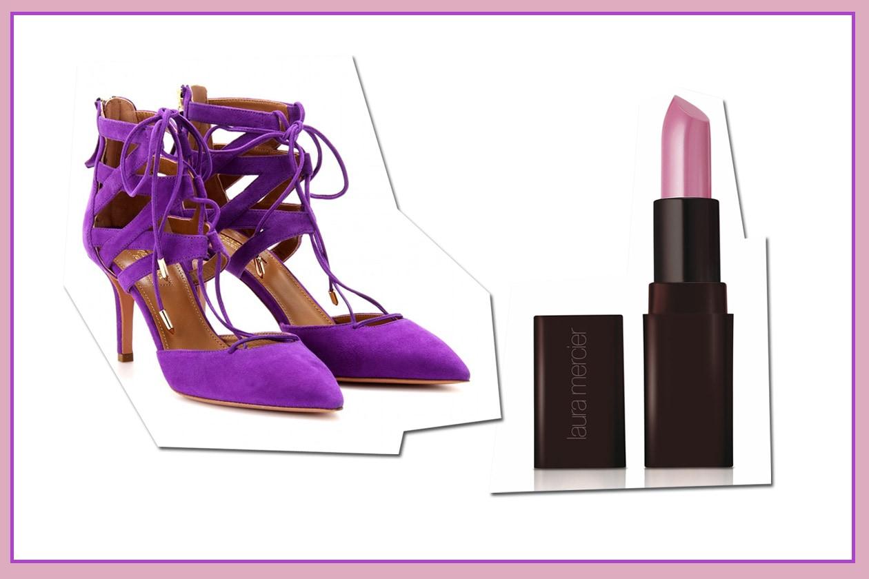 Intrecci radiosi con le scarpe in suede di Acquazzura e il Creme Smooth Lip Colour Royal Orchid di Laura Mercier