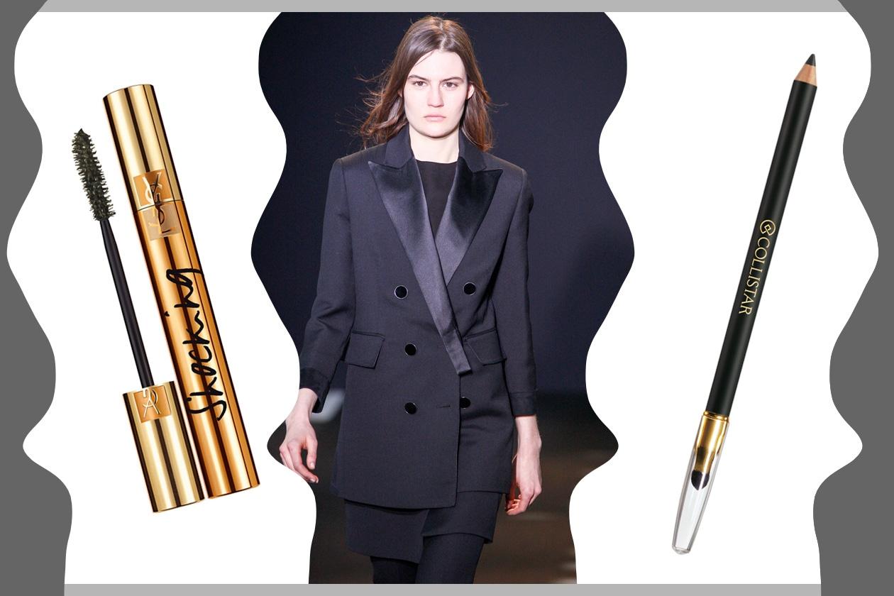 L'ELEGANZA È NEI DETTAGLI: rigoroso e chic. Il make up è essenziale (Costume National – Collistar – Yves Saint Laurent)