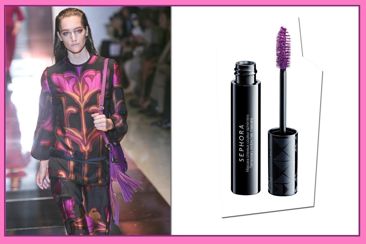 SGUARDO E CHIOMA VIOLA: Radiant hair con il Temporary ombre Hair in Tempting Purple di Sephora. Vestito e borsa di Gucci
