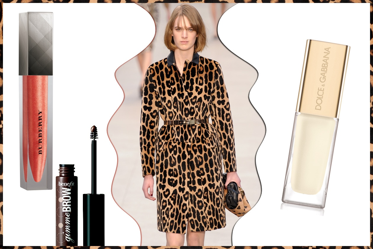 TOTAL LOOK: animalier all over. Focus sullo sguardo: sopracciglia in evidenza (Burberry – Benefit – Burberry Beauty – Dolce&Gabbana)