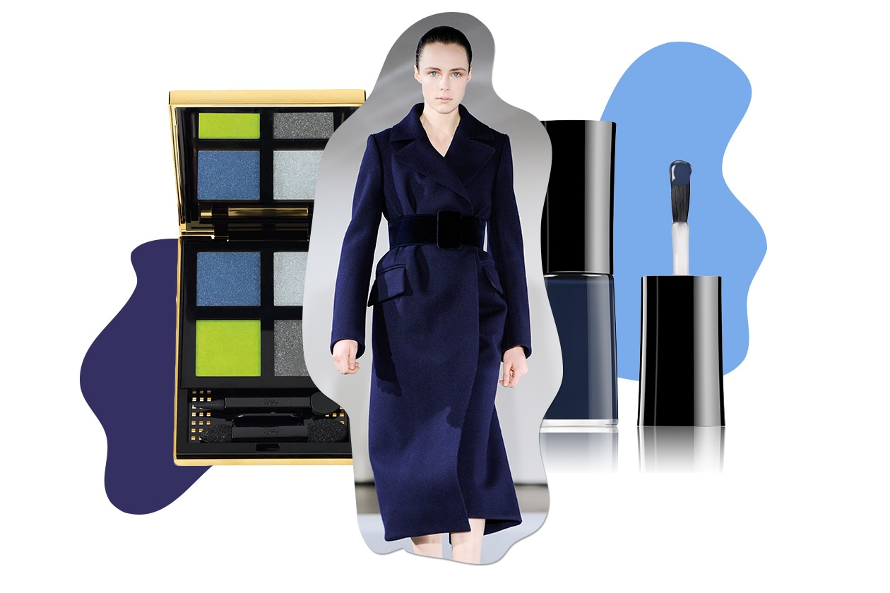 TRENDY LADY: total blu per il cappotto. Giochi di colori per il make up (Jil Sander – Yves Saint Laurent – Giorgio Armani Beauty)