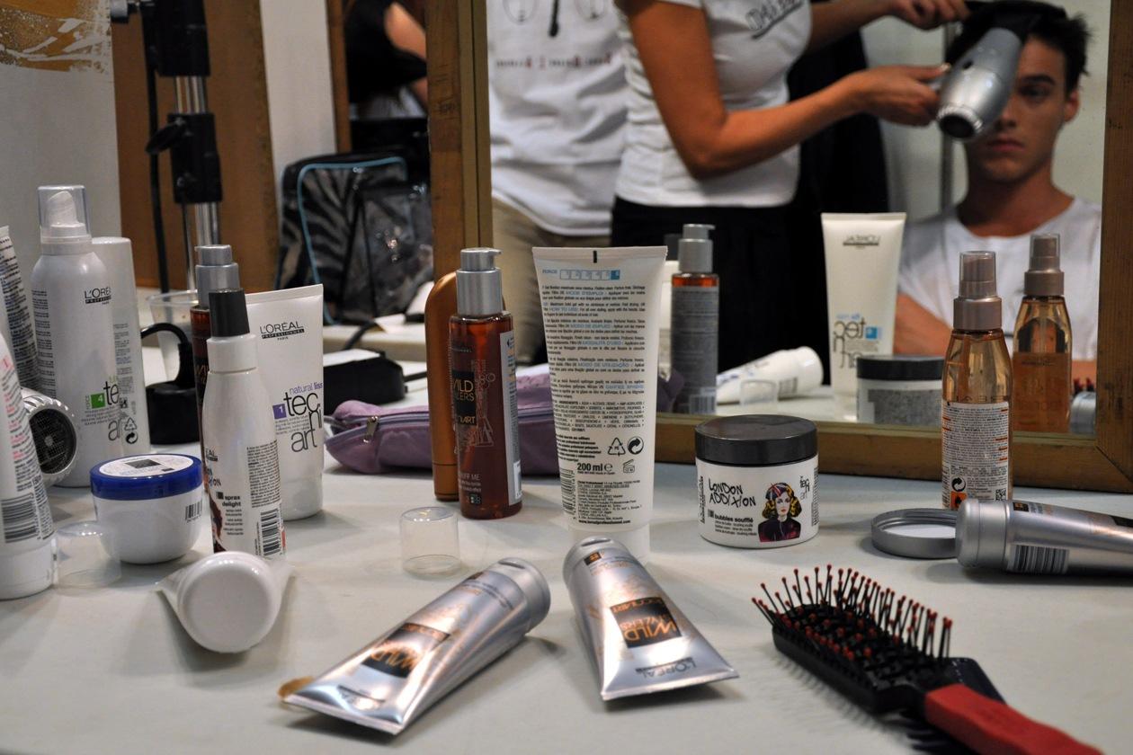 Tutti i prodotti usati per l'hair styling dei modelli