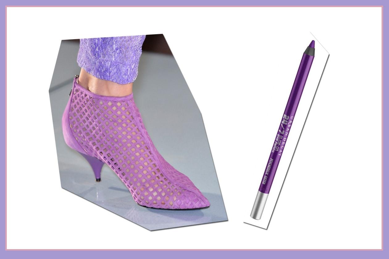 Una coppia che non passa inosservata: gli ankle boots di Roccobarocco e la matita 24-7 Glide-On Eye Pencil in Psychedelic Sister di Urban Decay