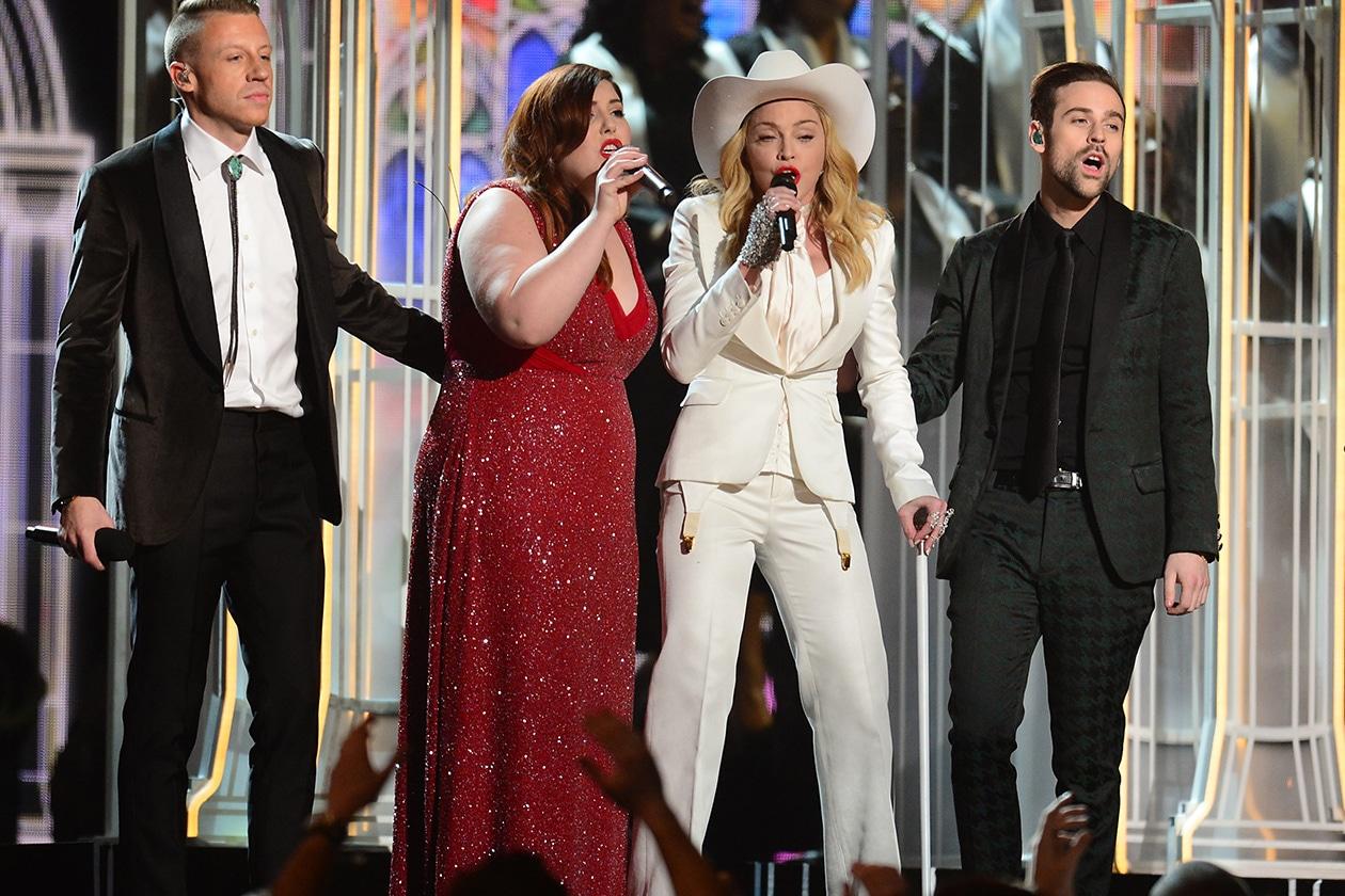 La serata si è conclusa con l'inno all'amore di Mackelmore&Ryan Lewis, che con l'aiuto di Madonna e Queen Latifaha hanno celebrato un matrimonio di gruppo