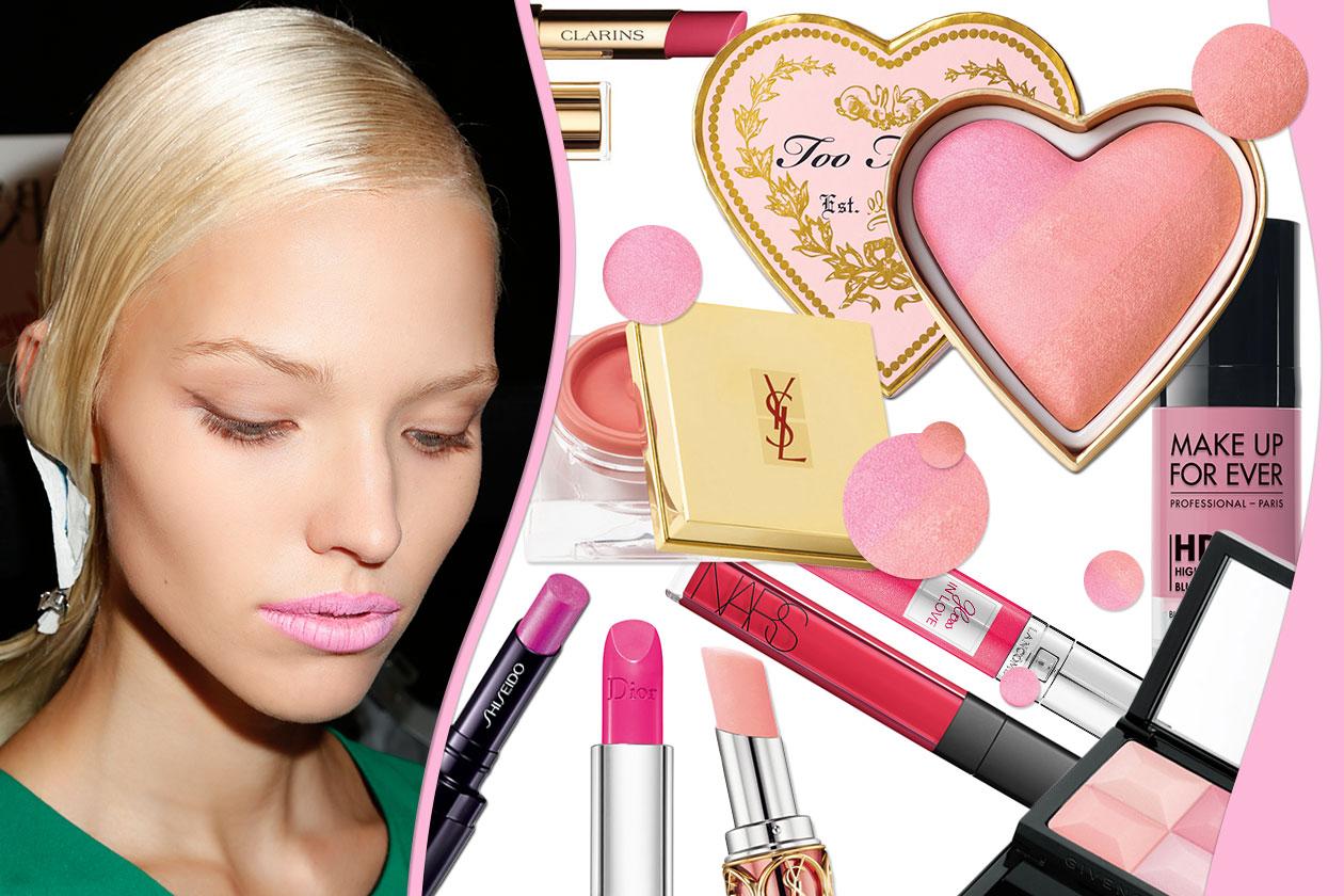 Beauty blush e prodotti labbra in rosa 00 Cover collage
