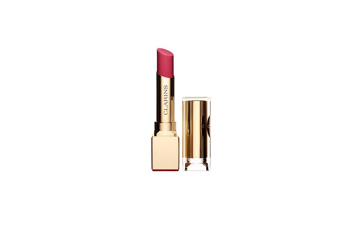 Beauty blush e prodotti labbra in rosa clarins rouge eclat Tropical pink