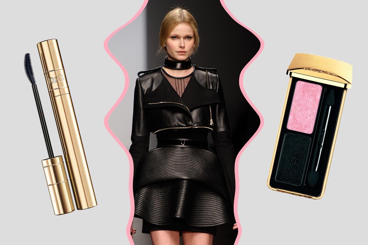 GEOMETRIE IN BLACK: tagli futuristici per David Koma. Mix di polveri shimmer e chiare sugli occhi e abbondante mascara (Guerlain – Dolce&Gabbana)