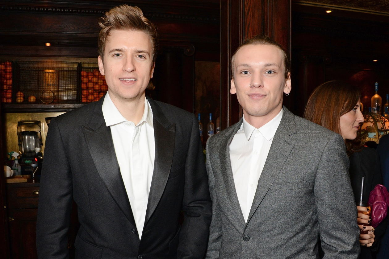 Greg James & Jamie Campbell Bower at Harvey Weinstein's BAFTA nominees dinner in partnership with Burberry & Grey Goose at Little House, Mayfair