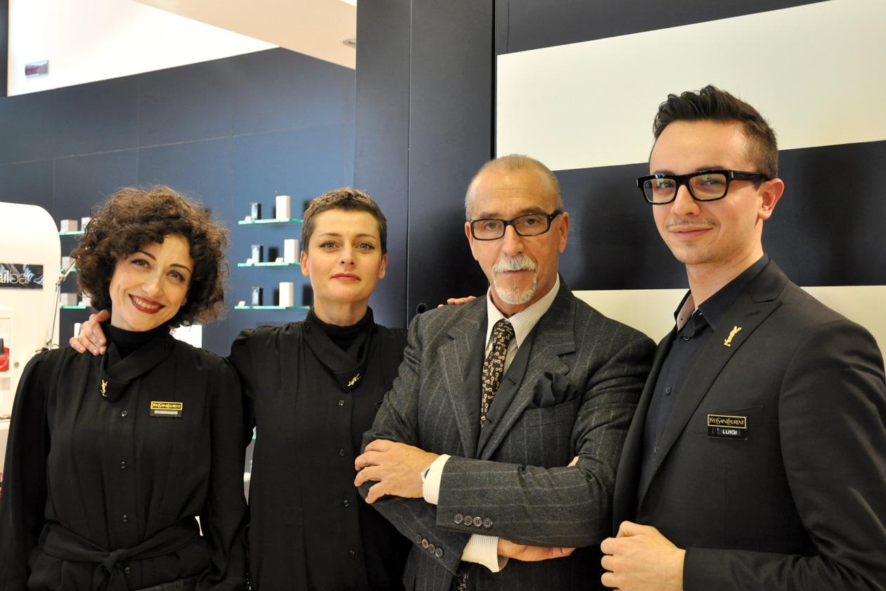 Il team di Yves Saint Laurent: al centro Valter Gazzano, national make up artist