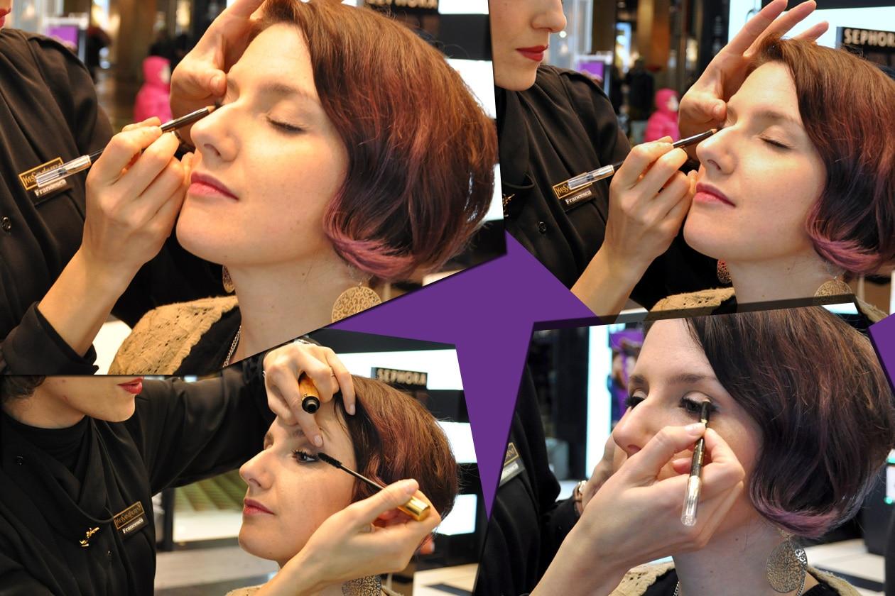 Make up Baby Doll per Michela Marra: polvere nude sugli occhi, eyeliner, mascara e Vernis à Levres rosso fuoco sulle labbra